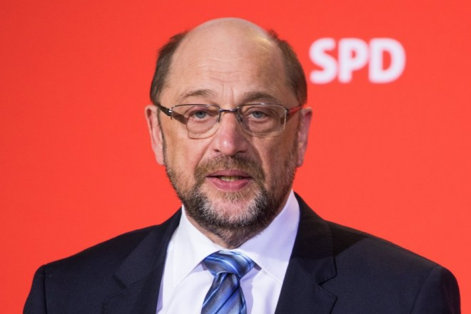 epa06504026 Leader of the Social Democratic Party (SPD) Martin Schulz speaks during a press conference at the SPD headquarters Willy-Brandt-Haus in Berlin, Germany, 07 February 2018. Schulz announced his resignation from the party leadership, which is expected to be transferred to Andrea Nahles. Schulz confirmed that he wants to serve as the next German Foreign Minister after the new government will be established. After an overnight coalition negotiation session the leaders of the Christian Democratic Union of Germany (CDU), the Christian Social Union (CSU) from Bavaria and Social Democratic Party (SPD) formed the coalition of a new German government.  EPA/ALEXANDER BECHER