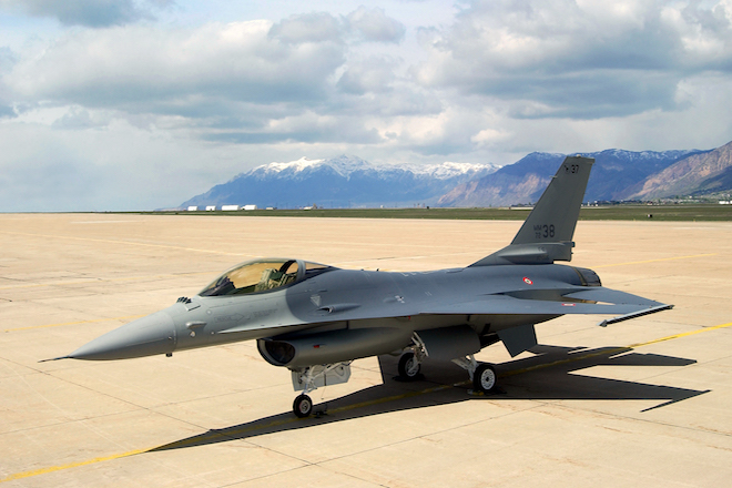 HILL AIR FORCE BASE, Utah (AFPN) -- Italian defense officials accepted the first of 34 modified and refurbished F-16 Fighting Falcon A and B models from Ogden Air Logistics Center experts here May 16.  (Courtesy photo)