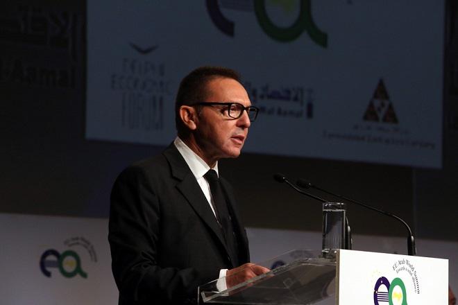 """Ο Δκτής της ΤτΕ Γιάννης Στουρνάρας μιλά στη 2η Ευρώ-Αραβική Σύνοδο """"EU Arab World Summit"""" στο Μέγαρο Μουσικής, Αθήνα, Παρασκευή 10 Νοεμβρίου 2017. ΑΠΕ-ΜΠΕ/ΑΠΕ-ΜΠΕ/Αλέξανδρος Μπελτές"""