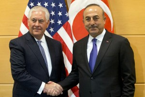 epa06370988 Turkish Foreign Minister Mevlut Cavusoglu (L) shakes hands with U.S. Secretary of State Rex Tillerson prior to a bilateral meeting on the sidelines of a NATO foreign ministers meeting at NATO headquarters in Brussels, Belgium, 06 December 2017. NATO Foreign Ministers are meeting on 05 - 06 December 2017 to for two days of talks on NATO's adaptation ahead of the Brussels Summit next July 2018. Ministers will also discuss global security challenges, including North Korea, and NATO's role in projecting stability beyond its borders.  EPA/VIRGINIA MAYO / POOL
