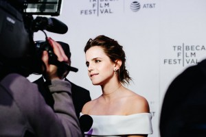 epa05929937 British actress/cast member Emma Watson arrives for the premiere of 'The Circle' during the 2017 Tribeca Film Festival in New York, New York, USA, 26 April 2017. The film festival runs from 19 to 30 April 2017.  EPA/ALBA VIGARAY