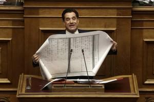 Ο αντιπρόεδρος της ΝΔ Άδωνις Γεωργιάδης μιλάει στη συζήτηση και ψηφοφορία επί της προτάσεως της κυβερνητικής πλειοψηφίας για τη συγκρότηση επιτροπής προκαταρκτικής εξέτασης για την υπόθεση NOVARTIS, στην Ολομέλεια της Βουλής, Τετάρτη 21 Φεβρουαρίου 2018. ΑΠΕ-ΜΠΕ/ΑΠΕ-ΜΠΕ/ΣΥΜΕΛΑ ΠΑΝΤΖΑΡΤΖΗ