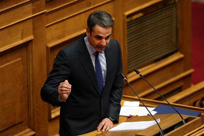Ο πρόεδρος της ΝΔ Κυριάκος Μητσοτάκης μιλάει στη συζήτηση και ψηφοφορία επί της προτάσεως της κυβερνητικής πλειοψηφίας για τη συγκρότηση επιτροπής προκαταρκτικής εξέτασης για την υπόθεση NOVARTIS, Τετάρτη 21 Φεβρουαρίου 2018. ΑΠΕ-ΜΠΕ/ΑΠΕ-ΜΠΕ/ΟΡΕΣΤΗΣ ΠΑΝΑΓΙΩΤΟΥ