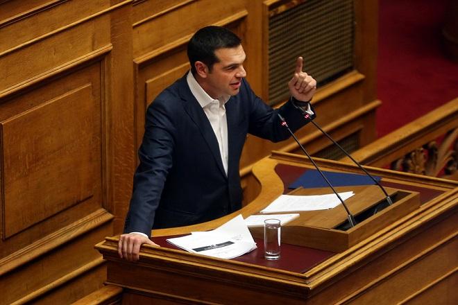 Ο πρωθυπουργός Αλέξης Τσίπρας μιλάει στη συζήτηση και ψηφοφορία επί της προτάσεως της κυβερνητικής πλειοψηφίας για τη συγκρότηση επιτροπής προκαταρκτικής εξέτασης για την υπόθεση NOVARTIS, Τετάρτη 21 Φεβρουαρίου 2018. ΑΠΕ-ΜΠΕ/ΑΠΕ-ΜΠΕ/ΟΡΕΣΤΗΣ ΠΑΝΑΓΙΩΤΟΥ