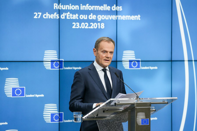epa06558697 European Council President Donald Tusk gives a statement to the media after the informal meeting of the 27 European Heads of States and Governments in Brussels, Belgium, 23 February 2018. The 27 European Heads of States of Governments met for a high level conference on the Sahel zone and discussed the new composition of the European Parliament after the so-called 'Brexit' and a post-2020 EU budget for several years.  EPA/STEPHANIE LECOCQ
