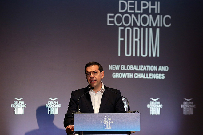 Ο πρωθυπουργός Αλέξης Τσίπρας στην ομιλία του στο Οικονομικό Φόρουμ Δελφών που γίνεται στο Ευρωπαικό Πολιτιστικό Κέντρο  Δελφών, Παρασκευή 2 Μαρτίου 2018. ΑΠΕ-ΜΠΕ/ΑΠΕ-ΜΠΕ/ΟΡΕΣΤΗΣ ΠΑΝΑΓΙΩΤΟΥ