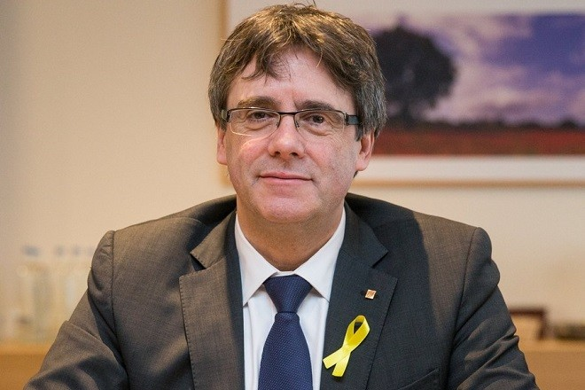Ousted Catalan leader Carles Puigdemont attends a working session with Catalonian delegates in Brussels, Belgium, 12 January 2018 (reissued 01 March 2018). According to media reports on 01 March, Carles Puigdemont resigned from a bid to be  reappointed for the post of Catalonia's President in favour of Jordi Sanchez.