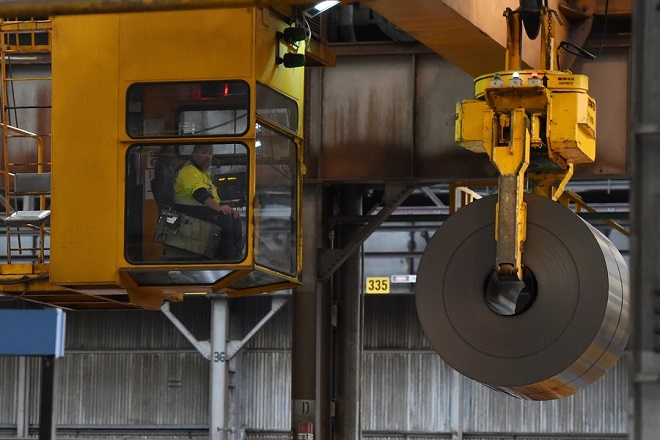 epa06574349 A manned crane moves steel sheet rolls at the Bluescope Steelworks at Port Kembla in Wollongong, Australia, 14 April 2016. Media reports on 02 March 2018 state the European Union would plan to retaliate should USA go ahead with their plans to impose national tariffs on steel and aluminium imports from around the globe, as announced by US President Donald Trump on 01 March 2018. The announcement sent stocks around the globe lower, amid fears of a possible trade war between USA, China and the EU. Other nations affected could be Australia, Mexico, Brazil and South Korea.  EPA/DEAN LEWINS  AUSTRALIA AND NEW ZEALAND OUT