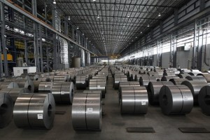 epa06574393 Rolled steel after being treated on the pickle line waiting to go on the hot-dip Galvanizing line at Severstal North America plant in Dearborn, Michigan, USA, 21 June 2012 (re-issued 02 March 2018). Media reports on 02 March 2018 state the European Union would plan to retaliate should USA go ahead with their plans to impose national tariffs on steel and aluminium imports from around the globe, as announced by US President Donald Trump on 01 March 2018. The announcement sent stocks around the globe lower, amid fears of a possible trade war between USA, China and the EU. Other nations that may be affected are  Australia, Mexico, Brazil and South Korea.  EPA/JEFF KOWALSKY