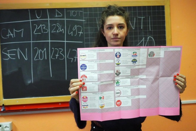 epa06579021 A woman displays the ballot paper for the general elections, in Bologna, Italy, 04 March 2018. General elections are held in Italy on 04 March 2018 with the country's economic situation and migrant influx in the past years believed to dominate the voters' decisions. The three main political contenders in Italy, the right-wing coalition, the ruling Democratic Party and the anti-establishment 5-Star-Movement have all predicted major results for themselves. The final results of the elections are expected to be announced on early 05 March.  EPA/GIORGIO BENVENUTI