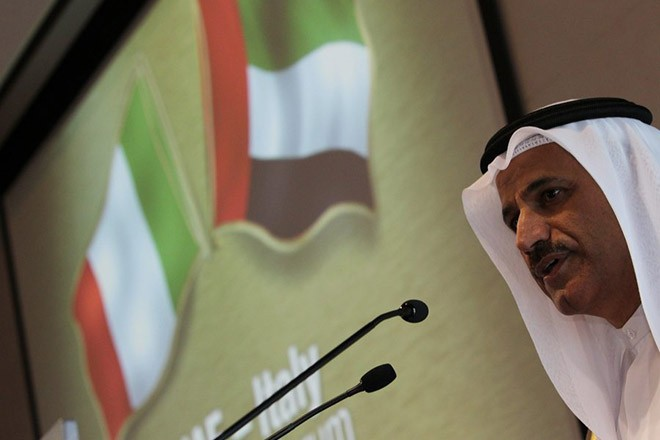 epa03478830 Sultan bin Saeed Al Mansoori UAE Minister of Economy gives his speech with the presence of Italian Prime Minister Mario Monti (no pictured) during the UAE-Italy Business Forum at at Dubai Chamber Commerce in Gulf emirate of Dubai, United Arab Emirates on 20 November 2012. Monti has arrived in Dubai part of his gulf visit.  EPA/ALI HAIDER