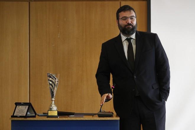 Ο υφυπουργός Αθλητισμού Γιώργος Βασιλειάδης μιλάει στην εκδήλωση για την βράβευση των αθλητριών, των προπονητριών και την διοίκηση του συλλόγου γυμναστικής Ολυμπιάδα Θρακομακεδόνων για την κατάκτηση της 1ης θέσης στο παγκόσμιο πρωτάθλημα Άθλησης για ΌΛους, σε εκδήλωση που έγινε στο υπουργείο, Τετάρτη 24 Ιανουαρίου 2018. ΑΠΕ-ΜΠΕ/ΑΠΕ-ΜΠΕ/ΑΛΕΞΑΝΔΡΟΣ ΒΛΑΧΟΣ