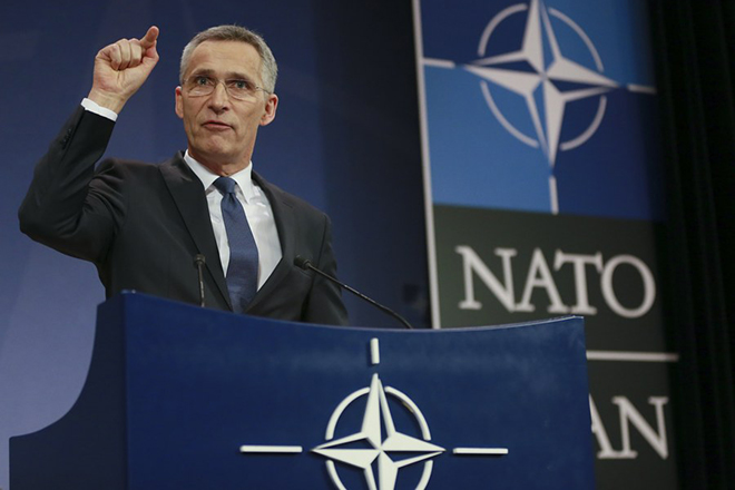 epa06605484 North Atlantic Treaty Organization (NATO) Secretary General Jens Stoltenberg  speaks during a news conference at tha NATO headquarters in Brussels, Belgium, 15 March 2018, to present the report of the 2017 activities of NATO.  EPA/OLIVIER HOSLET