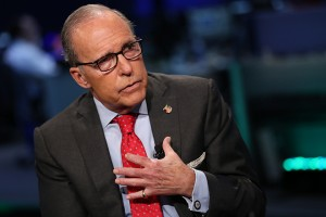 """POWER LUNCH -- Pictured: Larry Kudlow, conservative economist and former host of CNBC's """"The Kudlow Report,"""" considering a Senate bid against Senator Blumenthal, shown here in an interview on September 15, 2015 -- (Photo by: Adam Jeffery/CNBC/NBCU Photo Bank via Getty Images)"""