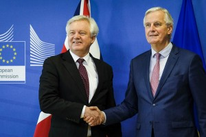epa06613893 United Kingdom's Secretary of State for Exiting the European Union, David Davis is welcomed by Michel Barnier (R), the European Chief Negotiator of the Task Force for the Preparation and Conduct of the Negotiations with the United Kingdom under Article 50 prior to a meeting in Brussels, Belgium, 19 March 2018. Reports state that David Davis, is in Brussels to meet Michel Barnier during which they hope to finalise a Brexit transition deal.  EPA/OLIVIER HOSLET