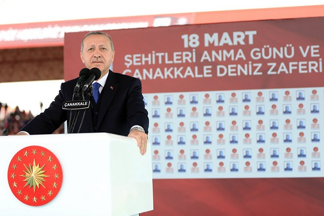 epa06611690 A handout photo made available by the Turkish Presidential Press Office shows Turkish President Recep Tayyip Erdogan speaking during the ceremony marking the 103rd anniversary of the end of the Battle of Canakkale, Gallipoli campaign, during World War I in Canakkale, Turkey, 18 March 2018. The Gallipoli Campaign, or Dardanelles Campaign, was a campaign during World War I on the Gallipoli peninsula between the Allies and the Ottoman Empire between 17 February 1915 and 09 January 1916.  EPA/TURKISH PRESIDENTAL PRESS OFFICE HANDOUT  HANDOUT EDITORIAL USE ONLY/NO SALES
