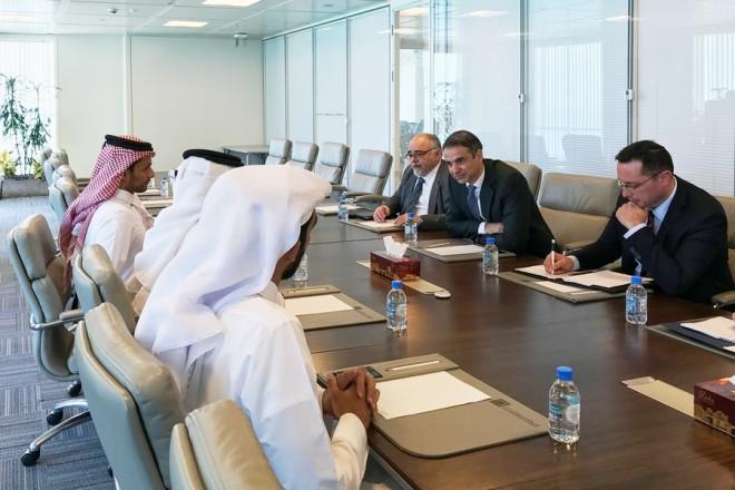 Ο πρόεδρος της Νέας Δημοκρατίας Κυριάκος Μητσοτάκης συναντήθηκε  με τον Εμίρη του Κατάρ Sheikh Tamim bin Hamad Al Thani, Τρίτη 20 Μαρτίου 2018. ΑΠΕ-ΜΠΕ/ΓΡΑΦΕΙΟ ΤΥΠΟΥ ΝΔ/STR