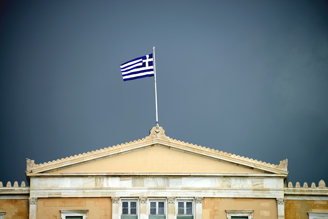 Black could over Hellenic Parliament, Athens, Greece