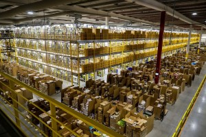 epa06348010 A general view of an Amazon distribution center during 'Black Friday' in Madrid, Spain, 24 November 2017. Black Friday is a huge shopping event which sees people all over the world getting discounted products as retailers slash prices. This year shoppers choose to shop online rather than traditionally queuing up through the night outside the shops before opening hours.  EPA/EMILIO NARANJO