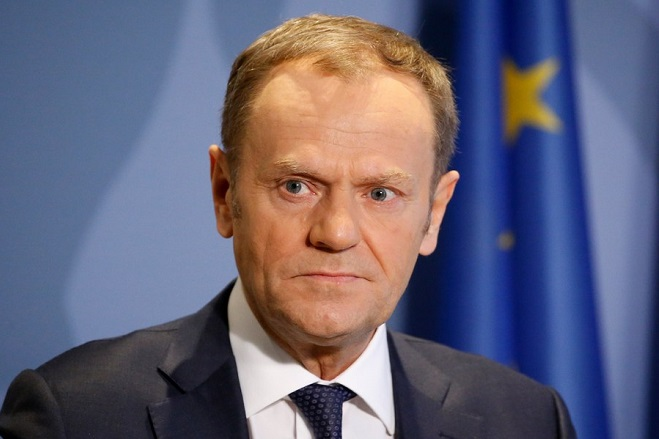 epa06589526 (FILE) Eropean Council President Donald Tusk holds a joint news conference with Luxembourg Prime Minister Xavier Bettel (not pictured), at the Senningen Castle, in Luxembourg, 07 March 2018 (reissued 08 March 2018). According to reports, European Council President Tusk announced after a meeting wirth Irish Taoiseach Leo Varadkar that EU suspends Brexit negotiations until Britain will solve the problem with Irish border.  EPA/JULIEN WARNAND