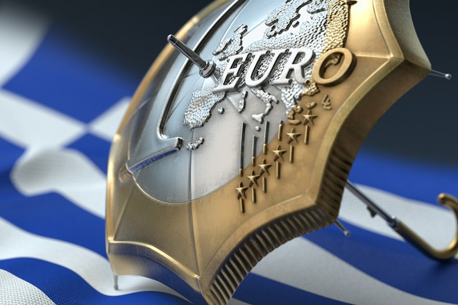 Euro coin designed umbrella on a flag of Greece