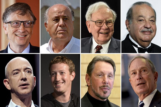 epa05722320 A composite image made on 16 January 2017 from archive files shows the eight richest people of the world, (top row L-R) Microsoft founder Bill Gates, Spanish Inditex fashion founder Amancio Ortega, US investor Warren Buffett, Telmex CEO Carlos Slim; (bottom row L-R) Amazon CEO Jeff Bezos, Facebook founder Mark Zuckerberg, Oracle founder Larry Ellison, and Bloomberg CEO Michael Bloomberg. According to a report released by NGO Oxfam, these eight people own as much wealth as 3.6 billion people - about half of the world's population.  EPA/DSK