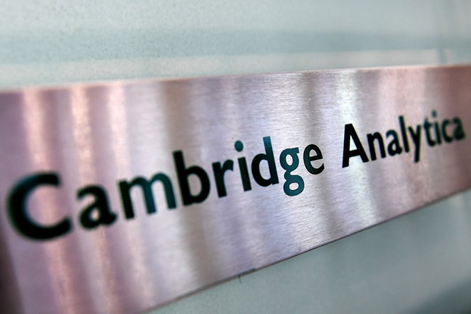 epa06617336 Cambridge Analytica's sign at their offices in London, Britain, 21 March 2018. Britain's Information Commissioner Elizabeth Denham has applied for a warrant to search the offices of 'Cambridge Analytica', which is accused of using the personal data of 50 million Facebook members for its own campaigns during the US presidential elections in 2016 and Brexit referendum.  EPA/ANDY RAIN