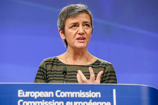 epa06549223 EU Commissioner for Competition, Danish Margrethe Vestager announced during a press conference that the Commission fines maritime car carriers and car parts suppliers a total of 546 million Euro in three separate cartel settlements at the European Commission in Brussels, Belgium, 21 February 2018. The European Commission found that the Chilean maritime carrier CSAV, the Japanese carriers K Line, MOL and NYK, and the Norwegian/Swedish carrier WWL-EUKOR participated in a cartel. In a second decision, the Commission has found that Bosch (Germany), Denso and NGK (both Japan) participated in a cartel concerning supplies of spark plugs to car manufacturers.  EPA/STEPHANIE LECOCQ