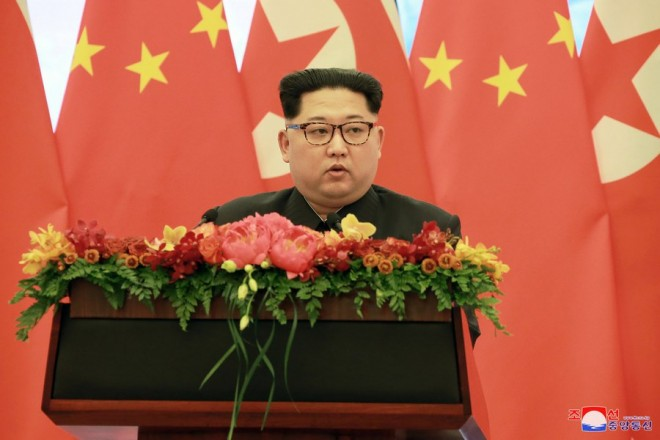 epa06633534 An undated photo released on 28 March 2018 by the North Korean Central News Agency (KCNA), the state news agency of North Korea, shows North Korean leader Kim Jong-un giving a speech during a visit to China. According to the North Korean media, Kim Jong-un visited China from 25 to 28 March at the invitation of Chinese President Xi Jinping.  EPA/KCNA   EDITORIAL USE ONLY