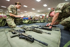 epa06191565 A handout photo made available by the British Ministry of Defence showing British Army soldiers making a final weapons check before they get loaded as they prepare to fly out Hurricane Irma relief aid from RAF Brize Norton, Oxfordshire, central England, 08 September 2017. The MOD state that as part of Britain's response to the emerging disaster following Hurricane Irma several hundred British Soldiers from across the Army prepare to depart for the disaster struck region. Bringing with them unique and specialised skills and equipment including medical, environmental health, engineering and communications to help those in need.  EPA/CPL Jonathan Lee van Zyl / BRITISH MINISTRY OF DEFENCE /HANDOUT MANDATORY CREDIT CPL Jonathan Lee van Zyl MOD: CROWN COPYRIGHT HANDOUT EDITORIAL USE ONLY/NO SALES