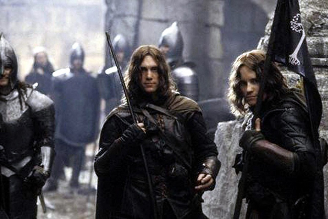 Handout photo of  the great grandson of JRR Tolkien, Royd Tolkien (left), who is to appear in the next instalment of the blockbuster Lord of the Rings movie trilogy. Royd Tolkien, 34, took the part of a Gondorian Ranger in the new film adaptation of his famous relative's stories after director Peter Jackson invited him to join the cast. Royd is pictured here with friend Justin Nicholls.  EPA/HO UK AND IRELAND OUT