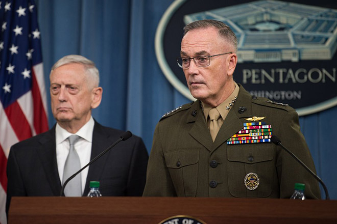 US Secretary of Defense gives joint press conference on Syria air strikes