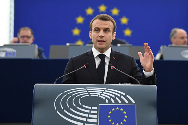 epa06674186 French President Emmanuel Macron delivers his speech at the European Parliament in Strasbourg, France, 17 April 2018. Macron is in Strasbourg to debate the future of the European Union with the Members of Parliament.  EPA/PATRICK SEEGER