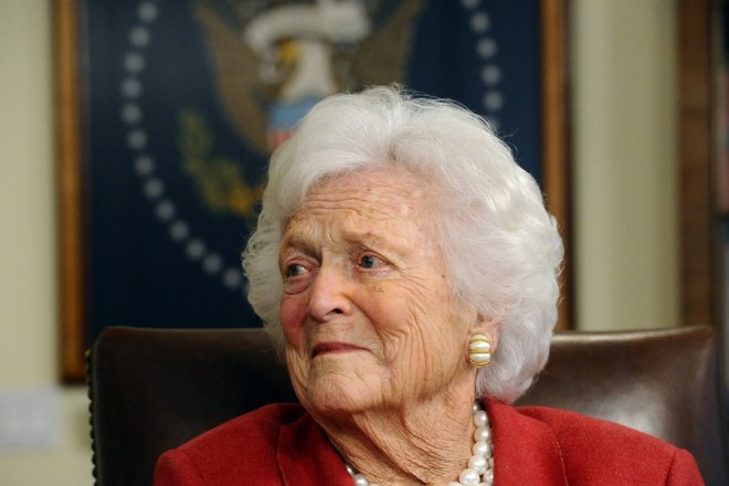 epa06675879 (FILE) Former First Ladey Barbara Bush and wife of Former President George H.W. Bush in his office in Houston, Texas, USA, 29 March 2012 (reissued 18 April 2018). According to media reports, Barbara Bush has died at the age of 92 on 17 April 2018.  EPA/LARRY W. SMITH