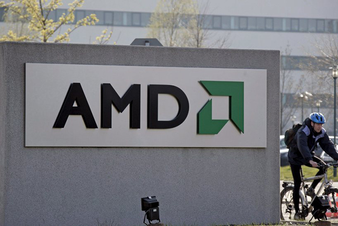 epa01308294 The photo depicts the company logo of lossy US chip producer AMD at the AMD plant in Dresden, Germany, 08 April 2008. According to a spokeswoman the Dresden plant will have to 'contribute' to AMD's planned job cuts of 1,650 employees. AMD employs 16,000 persons worldwide.  EPA/RALF HIRSCHBERGER