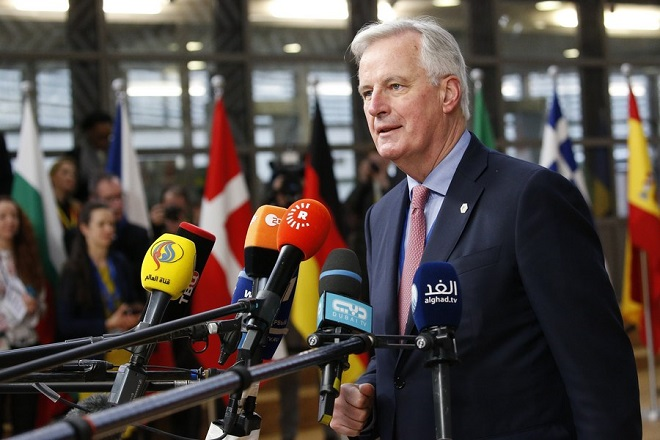 epa06622575 Michel Barnier, the European Chief Negotiator of the Task Force for the Preparation and Conduct of the Negotiations with the United Kingdom under Article 50 speaks to media as he arrives for the second day of the European Council meeting in Brussels, Belgium, 23 March 2018. The Spring meeting of the European Council is expected to focus on economic and trade affairs. The Head of states and governments, according to the Council's agenda, will also look at other pressing issues, including taxation, and the situation in the Western Balkans, Turkey and Russia. The European leaders in an EU 27 format (without Britain) will also discuss the 'Brexit' and 'eurozone' topics.  EPA/JULIEN WARNAND