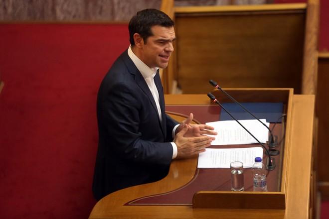 Ο πρωθυπουργός Αλέξης Τσίπρας απευθύνεται στην κοινοβουλευτική ομάδα του ΣΥΡΙΖΑ, Αθήνα Δευτέρα 23 Απριλίου 2018.  ΑΠΕ-ΜΠΕ/ΑΠΕ-ΜΠΕ/ΟΡΕΣΤΗΣ ΠΑΝΑΓΙΩΤΟΥ