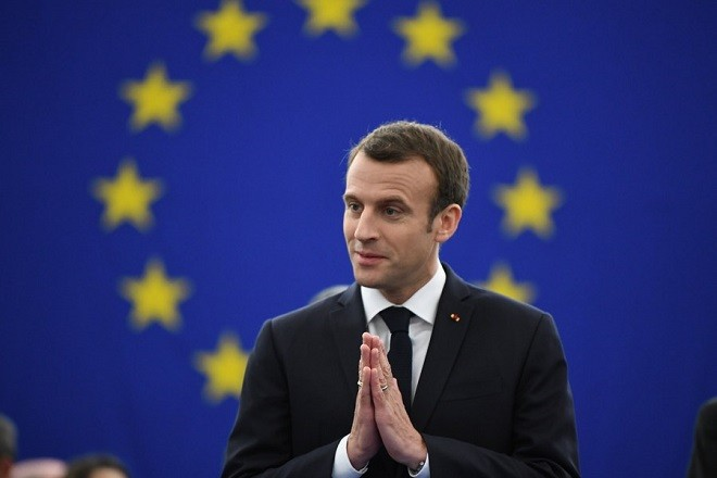 epaselect epa06674177 French President Emmanuel Macron gestures before delivering his speech at the European Parliament in Strasbourg, France, 17 April 2018. Macron is in Strasbourg to debate the future of the European Union with the Members of Parliament.  EPA/PATRICK SEEGER