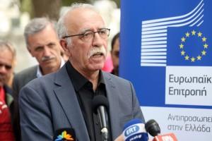 Ο υπουργός Μεταναστευτικής Πολιτικής Δημήτρης Βίτσας κάνει δηλώσεις μετά την ολοκλήρωση της επίσκεψης στον προσφυγικό καταυλισμό της Ριτσώνας, 30χλμ βόρεια της Αθήνας, Πέμπτη 12 Απριλίου 2018. ΑΠΕ-ΜΠΕ/ΑΠΕ-ΜΠΕ/Αλέξανδρος Μπελτές