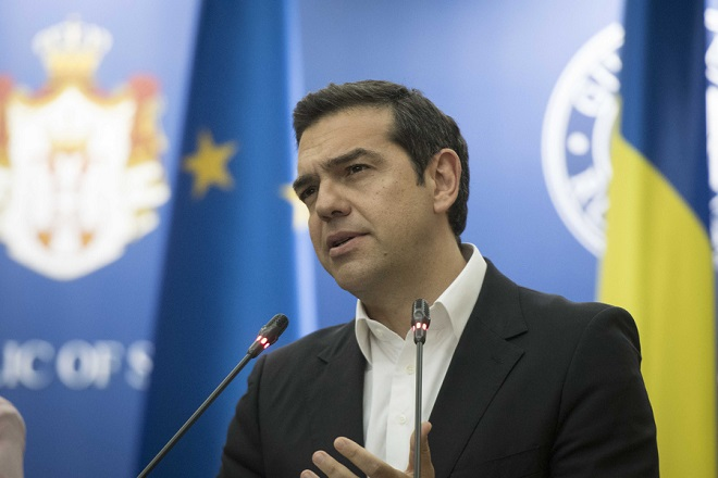 (Ξένη Δημοσίευση) O Πρωθυπουργός, Αλέξης Τσίπρας (Δ), η  Πρωθυπουργός της Ρουμανίας, Βιόριτσα Ντάντσιλα (ΔΕΝ ΕΙΚΟΝΙΖΕΤΑΙ), ο Πρωθυπουργός της Βουλγαρίας, Μπόικο Μπορίσοφ (ΔΕΝ ΕΙΚΟΝΙΖΕΤΑΙ) και ο Πρόεδρος της Σερβίας, Αλεξάνταρ Βούτσιτς (ΔΕΝ ΕΙΚΟΝΙΖΕΤΑΙ) κατά τη διάρκεια των δηλώσεων μετά το τέλος της Τετραμερής Συνόδου Κορυφής Ελλάδας-Βουλγαρίας-Ρουμανίας-Σερβίας, την Τρίτη 24 Απριλίου 2018, στο Victoria Palace, στο Βουκουρέστι. Επίκεντρο των συνομιλιών είναι ο συντονισμός των τεσσάρων κρατών και η υποστήριξη της ευρωπαϊκής προοπτικής των Δυτικών Βαλκανίων, ενόψει της Συνόδου Κορυφής ΕΕ-Δυτικών Βαλκανίων στις 17 Μαΐου στη Σόφια. ΑΠΕ-ΜΠΕ/ΓΡΑΦΕΙΟ ΤΥΠΟΥ ΠΡΩΘΥΠΟΥΡΓΟΥ/Andrea Bonetti