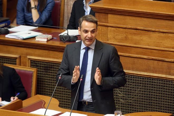 Ο πρόεδρος της Νέας Δημοκρατίας Κυριάκος Μητσοτάκης μιλάει στη μόνη συζήτηση και ψήφιση επί της αρχής, των άρθρων και του συνόλου του σχεδίου νόμου του Υπουργείου Περιβάλλοντος και Ενέργειας «Διαρθρωτικά μέτρα για την πρόσβαση στο λιγνίτη και το περαιτέρω άνοιγμα της χονδρεμπορικής αγοράς ηλεκτρισμού», Τετάρτη 25 Απριλίου 2018. ΑΠΕ-ΜΠΕ/ΑΠΕ-ΜΠΕ/Αλέξανδρος Μπελτές