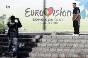 epa06711586 People take photos near Altice Arena where's the main stage of the 63rd annual Eurovision Song Contest (ESC) in Lisbon, Portugal, 04 May 2018. Forty-three contestants are taking part in the ESC 2018 held at the Altice Arena in Lisbon. The event consists of two Semi-Finals on 08 and 10 May and a Grand Final on 12 May.  EPA/MIGUEL A. LOPES