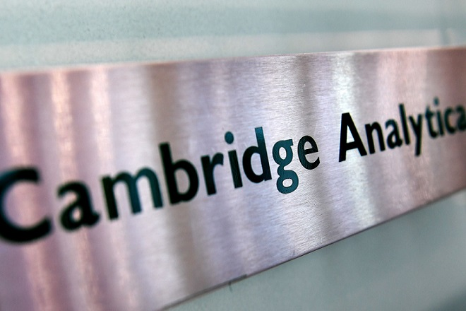 Mandatory Credit: Photo by ANDY RAIN/EPA-EFE/REX/Shutterstock (9472303g) Cambridge Analytica's sign at their offices in London, Britain, 21 March 2018. Britain's Information Commissioner Elizabeth Denham has applied for a warrant to search the offices of 'Cambridge Analytica', which is accused of using the personal data of 50 million Facebook members for its own campaigns during the US presidential elections in 2016 and Brexit referendum. Britain's Information Commissioner awaits warrant to search the offices of Cambridge Analytica., London, United Kingdom - 21 Mar 2018