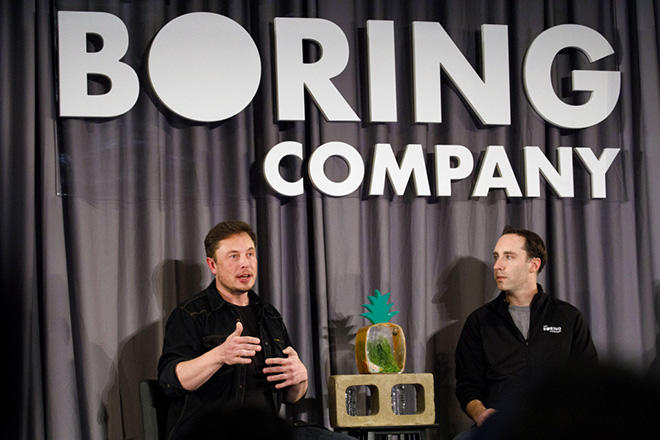 Elon Musk during a Boring event in Los Angeles on May 17. Photographer: Patrick T. Fallon/Bloomberg