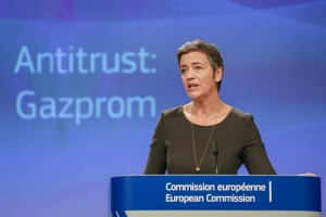 epa06759370 EU Commissioner for Competition Margrethe Vestager announced that the Commission finds Russian Gazprom's latest post-market test commitments proposal acceptable during a press conference at the European Commission in Brussels, Belgium, 24 May 2018. As a result, the Commission has decided to end its investigation into the company and will undertake no further action in this regard.  EPA/STEPHANIE LECOCQ