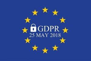 General Data Protection Regulation (GDPR) on european union flag