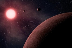 epa06038302 An undated handout photo made available by NASA on 20 June 2017 shows an artist's concept depicting an itsy bitsy planetary system. NASA's Kepler space telescope team has identified 219 new planet candidates, 10 of which are near-Earth size and in the habitable zone of their star where liquid water could pool on the surface of a rocky planet, NASA announced on 19 June 2017. NASA's Kepler space telescope was the first agency mission capable of detecting Earth-size planets using the transit method, a photometric technique that measures the minuscule dimming of starlight as a planet passes in front of its host star.  EPA/NASA/JPL-Caltech HANDOUT  HANDOUT EDITORIAL USE ONLY/NO SALES