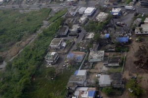epa06274616 Aerial view of the municipality Las Piedras during a mission of the US military to deliver supplies to the victims of Hurricane Maria, in Puerto Rico, 18 October 2017.  EPA/Thais Llorca