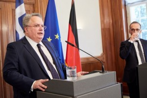 epa06770590 (L-R) Greek Minister of Foreign Affairs Nikos Kotzias and the German counterpart Heiko Maas hold a joint press conference at the Villa Borsig in Berlin, Germany, 29 May 2018. The two Foreign Ministers meet to discuss on bilateral issues along with current European and international matters.  EPA/HAYOUNG JEON