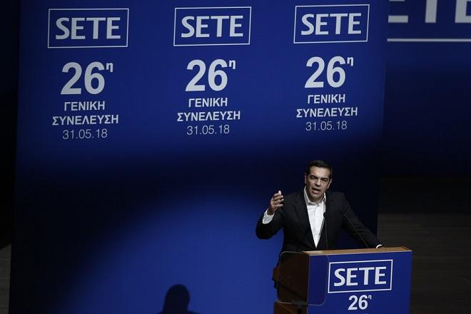 Ο πρωθυπουργός Αλέξης Τσίπρας μιλάει στην Τακτική Γενική Συνέλευση του Συνδέσμου Ελληνικών Τουριστικών Επιχειρήσεων (ΣΕΤΕ), στο Μέγαρο Μουσικής Αθηνών, Αθήνα Πέμπτη 31 Μαΐου 2018.  ΑΠΕ-ΜΠΕ/ΑΠΕ-ΜΠΕ/ΓΙΑΝΝΗΣ ΚΟΛΕΣΙΔΗΣ